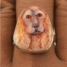 Cocker Spaniel Dog Hand Painted Collectible 925 Sterling Silver Ring Size 8