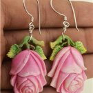 Hand Carved Rose Flower Natural Buffalo Bone 925 Silver Hook Jewelry Earrings