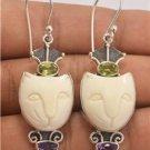 Charming Lovely Cute Cat Peridot Amethyst 925 Sterling Silver Jewelry Earrings