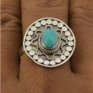 Bali Intricate Design Amazonite Gemstone 925 Sterling Silver Jewelry Ring Size 7