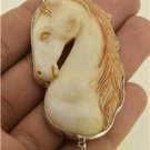 Hand Carved Lovely Horse Natural Buffalo Bone Labradorite 925 Silver Pendant