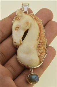 Hand Carved Lovely Horse Natural Buffalo Bone Labradorite 925 Silver Pendant