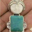 Fashion Jewelry Moon FaceTurquoise Tibet Peridot 925 Sterling Silver Pendant