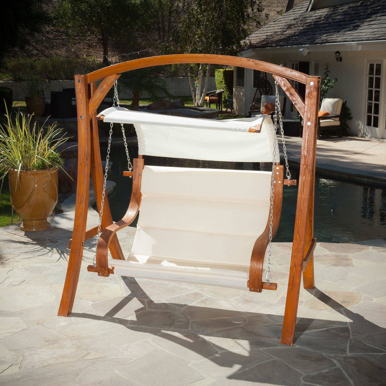 Hanging Wood Bench Love Seat Chair Swing Patio Outdoor Furniture Garden