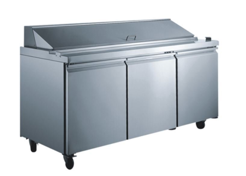 "3 Door 70"" Mega Top 30 Pan Salad Sandwich Prep Refrigerator Table Cooler STAINLESS"