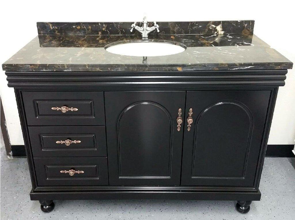 """48"""" Marble Top Bathroom Single Vanity Cabinet w/ Sink + Faucet"""