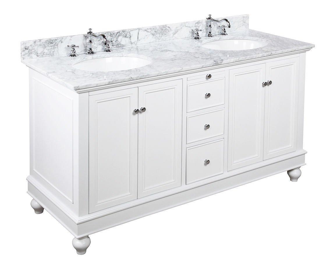 "60"" Carrera White Marble Bathroom Vanity Cabinet Ceramic Sink Soft Close"