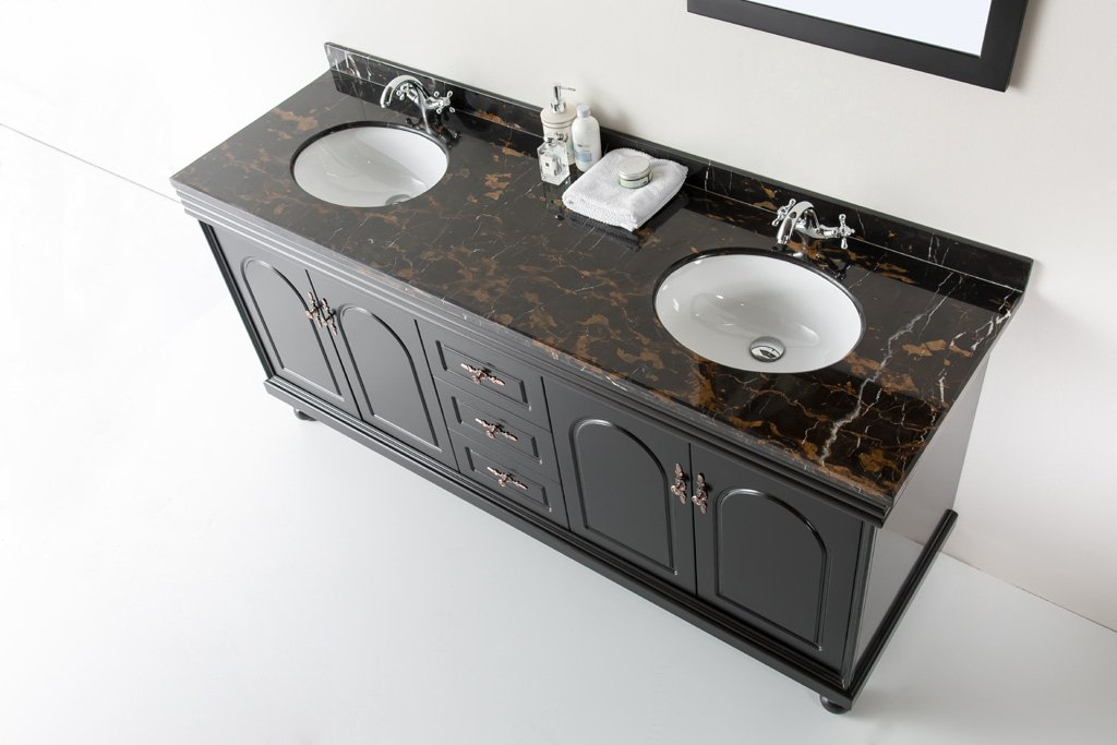 "72"" Solid Stone Marble Bathroom Double Vanity Sink / Cabinet + Faucets"