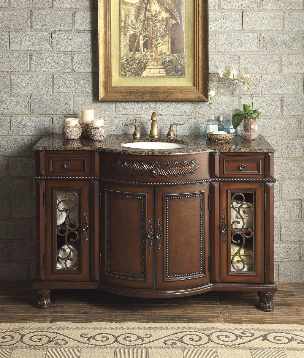 """52"""" Vanity Bathroom Baltic Brown Granite Top Lavatory Cabinet Single Sink"""