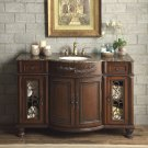 "52"" Vanity Bathroom Baltic Brown Granite Top Lavatory Cabinet Single Sink"