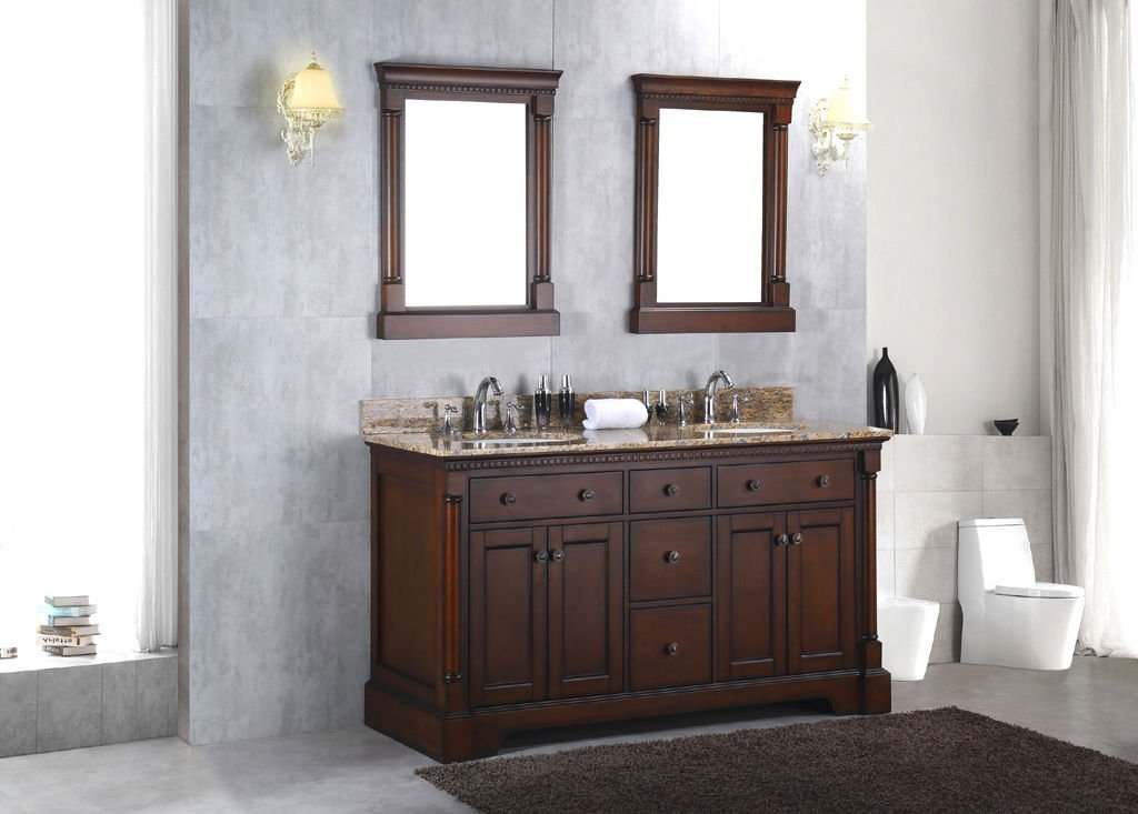 "60"" Double Bathroom Vanity Sink Solid Wood Cabinet w/ Granite Stone Top"