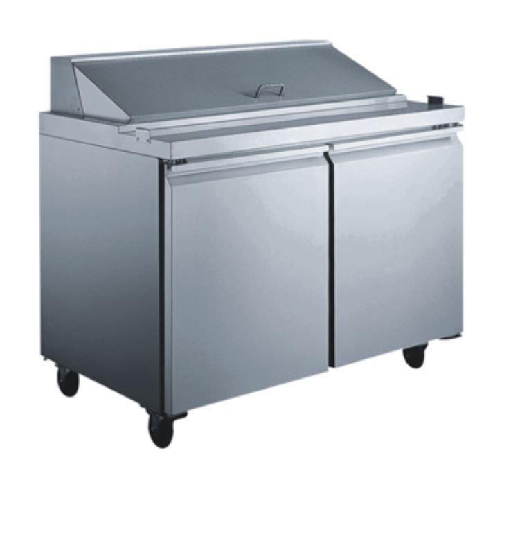 "SCLM2 60"" 2 Door Stainless Steel Salad Prep Table Refrigerator Mega Top"
