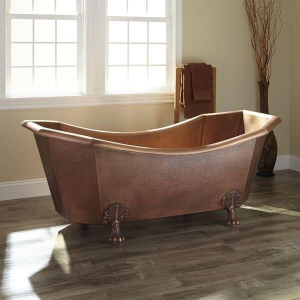 Copper Clawfoot Soaking Tub Bathtub Eight Sided Hammered