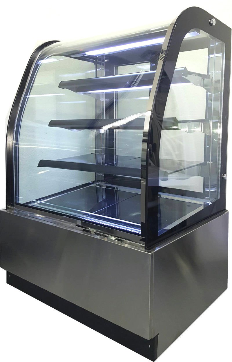 """Curved Glass 36"""" Refrigerated Cake Display Cooler Cold Bakery Pastry Case"""