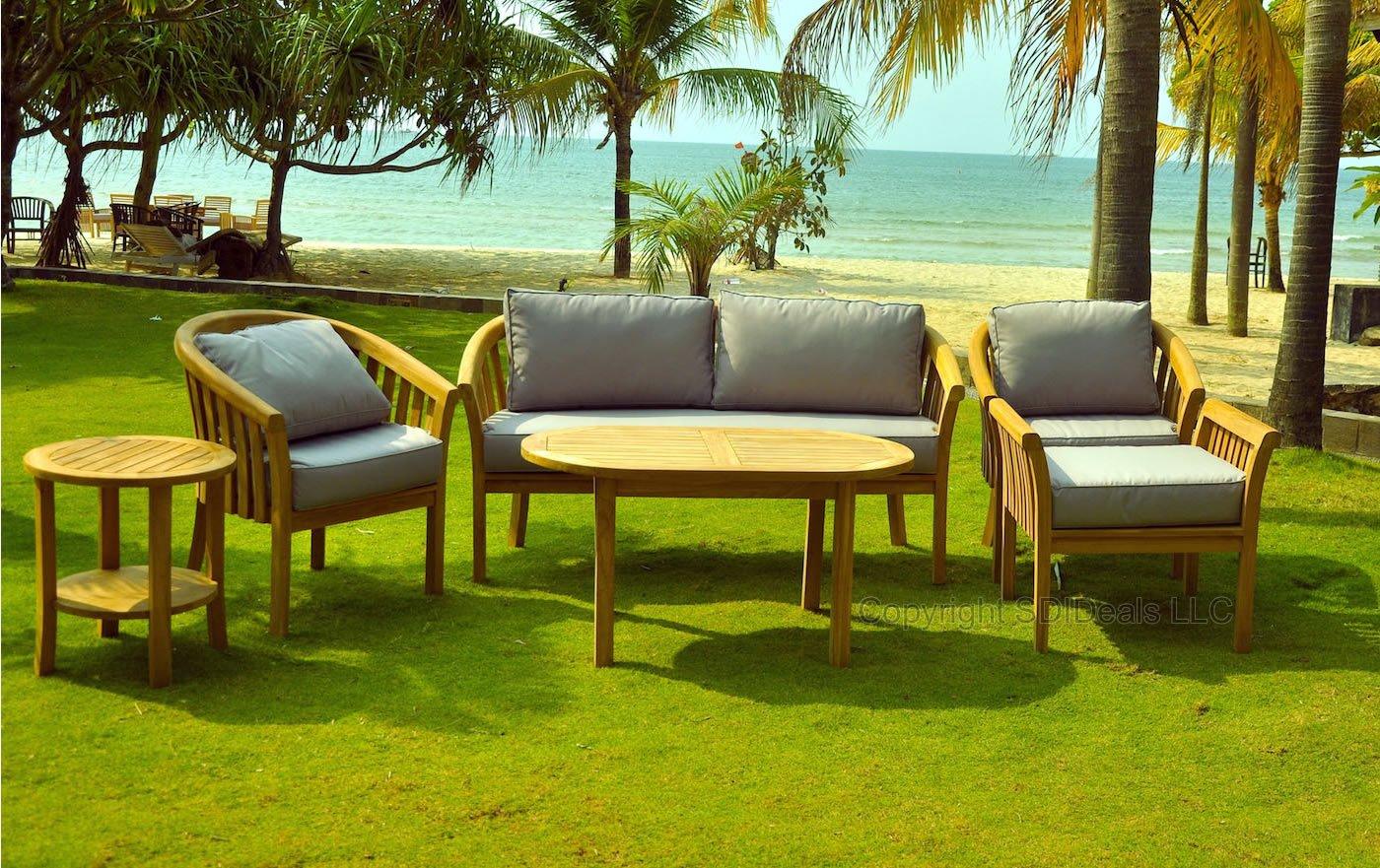 6 Piece Round Back Teak Indonesian Outdoor Patio Chair Set