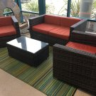 Sunbrella 4 Piece Outdoor Patio Furniture Set Wicker Rattan