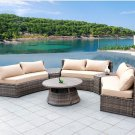 Sunbrella Curved Wicker Rattan Patio Furniture Set w/ Coffee Table