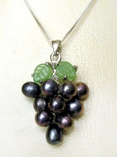 """Black Cultured Pearl Grape Cluster Jade Leaf 925 Silver 18"""" Chain Necklace BOXED"""