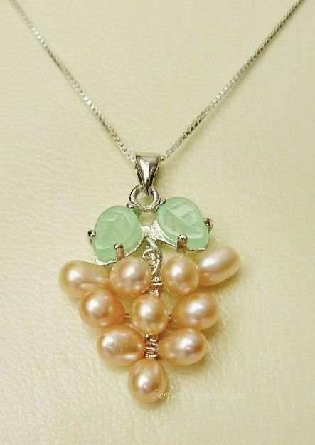 """Pink Cultured Pearl Grape Cluster Jade Leaf 925 Silver 18"""" Chain Necklace BOXED"""