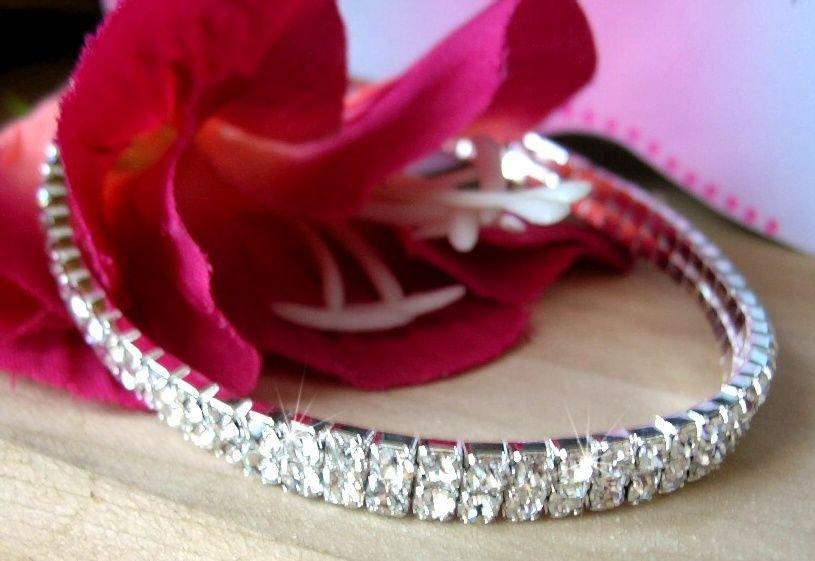 Clear Czech Crystal 2 ROW Stretch Ankle Bracelet Silver Tone Anklet