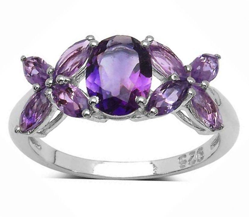 2.40TCW Natural Purple Amethyst  925 Sterling Silver Ring  2.40gr UK N.5 Rhodium