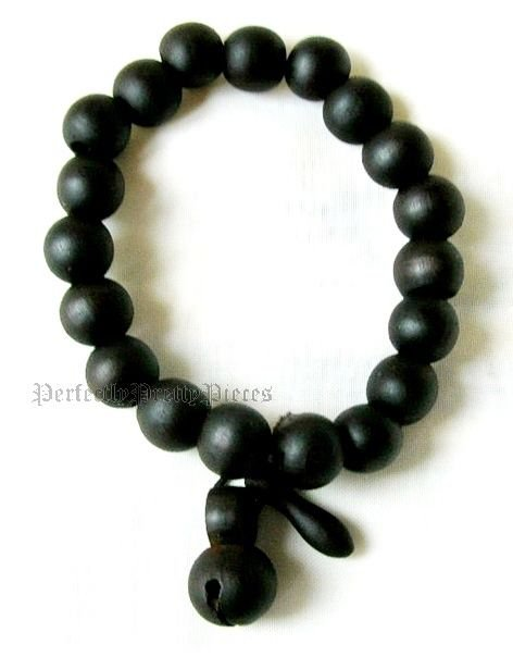 "Tibetan 11mm Black Wood Prayer Japa Mala Guru Beads Bracelet  7.5"" 19cm Stretch"