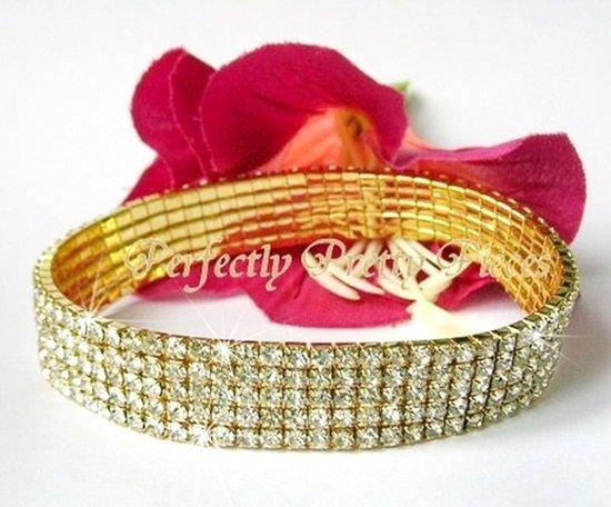 Clear Czech Crystal 5 ROW Yellow GP Stretch Ankle Bracelet Anklet   Wedding PROM