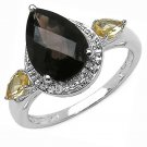 3.29TCW Smokey Topaz Yellow CitrineTeardrop Pear Sterling Silver Ring  US-6