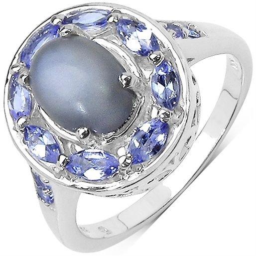 2.27 TCW Grey Moonstone Tanzanite Sterling Silver Ring  UK O ~US 7  Rhodmium Pl