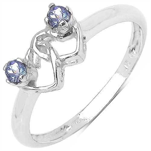 Tanzanite Double Love Hearts Sterling Silver Promise Ring   UK O  US 7  Rhodium Finish