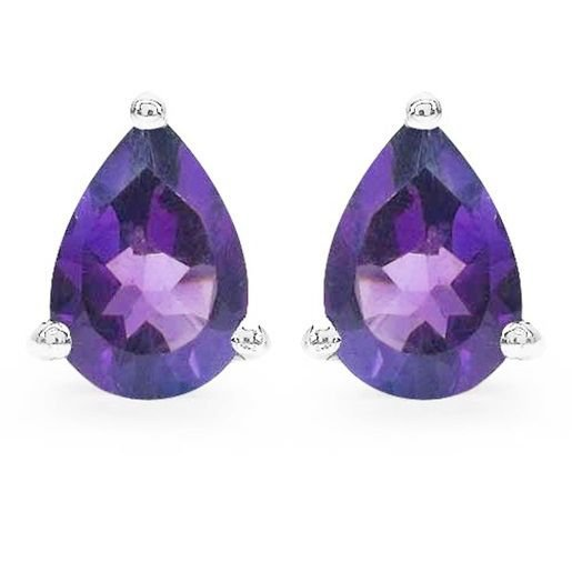 1.25TCW Purple Amethyst 5x7mm Teardrop Pear Sterling Silver Stud Earrings Rhodiu