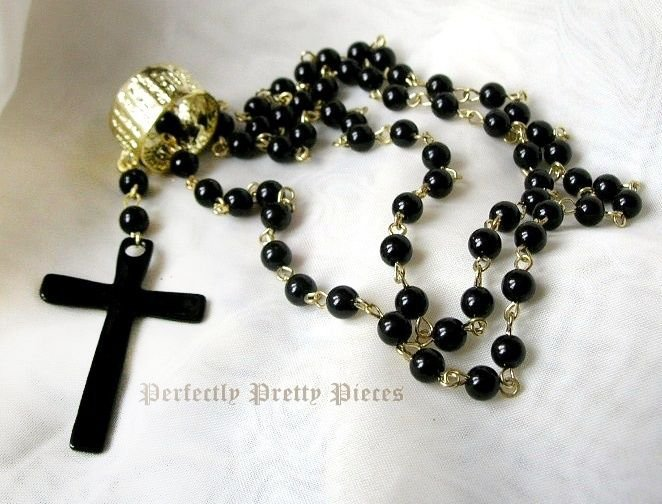 """Black Bead Rosary Cross Gold Plate Necklace  28"""" 72cm Long"""