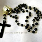 "Black Bead Rosary Cross Gold Plate Necklace  28"" 72cm Long"