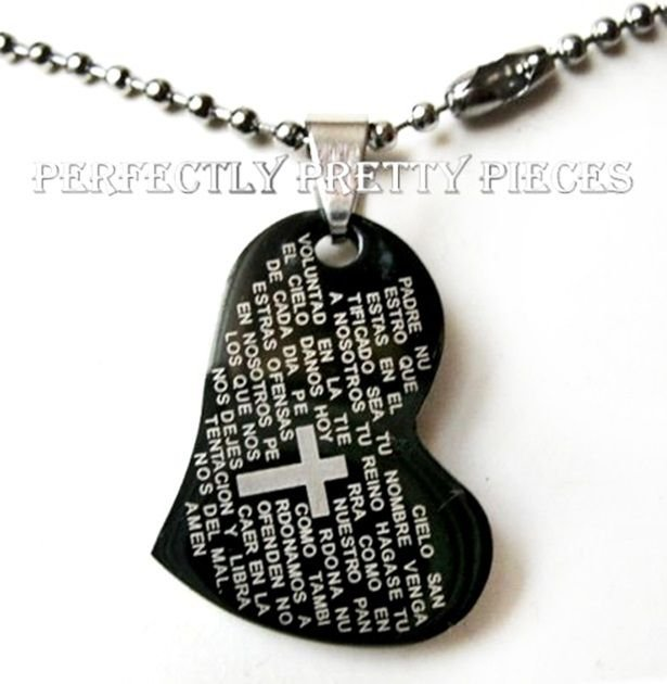 """Black Stainless Steel Lord's Prayer Heart Pendant 19.5"""" Necklace"""