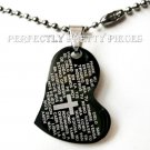 "Black Stainless Steel Lord's Prayer Heart Pendant 19.5"" Necklace"