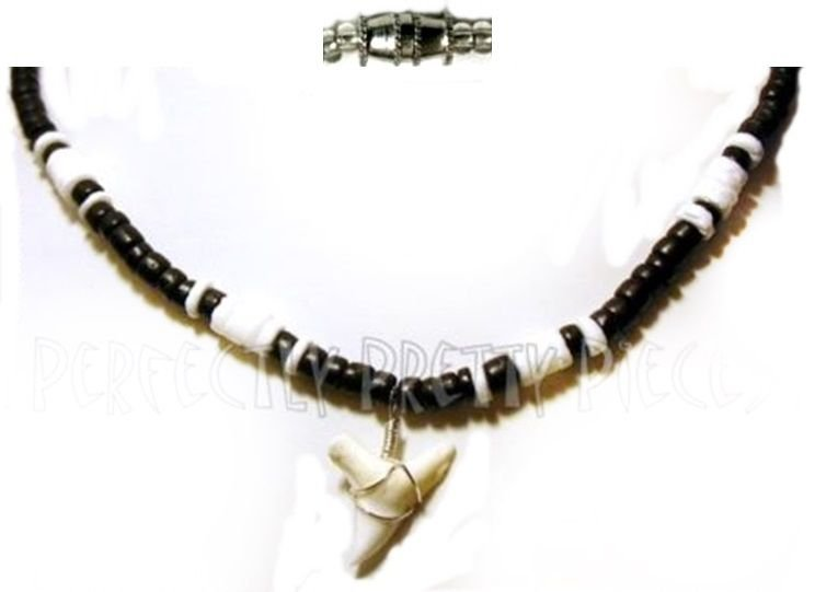 """Mens Genuine Bull Shark Tooth Puka Shell 18"""" Necklace  7/8""""-1.25"""" Tooth ~ Surfer"""
