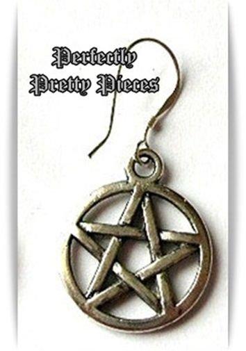 Mens Pentagram Pentacle Dangle Earring WICCA EMO GOTH