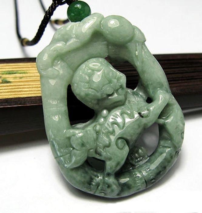 Large Mens Unisex Jade Carved Kylin Necklace Benevolent Symbol ~Moral Excellence
