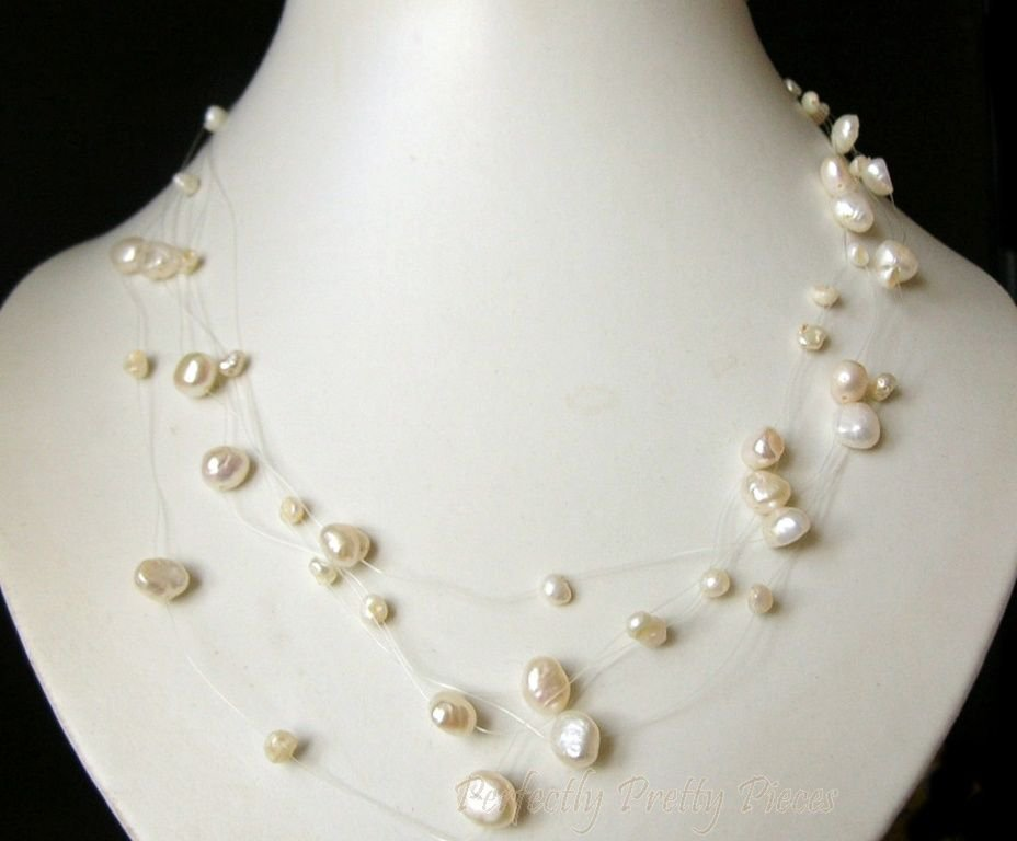 "Floating 5 Row Invisible Wire White Baroque Pearl Necklace  17""  43cm  ~ WEDDING"