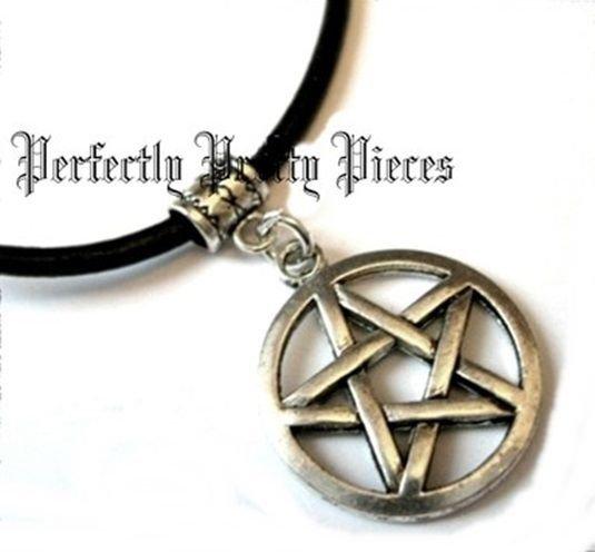 Pentagram Pentacle 3 MM Black Leather Cord Necklace