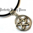 Pentagram Pentacle 3 MM Black Leather Cord Necklace