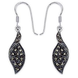 "Genuine Marcasite 925 Sterling Silver Earrings    1.15"" drop Rhodium Finish"