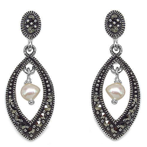 "Genuine Marcasite & Pearl 925 Sterling Silver Earrings    1"" drop Rhodium Finish"