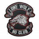 Lone Wolf No Club Logo Embroidered Iron On Patch