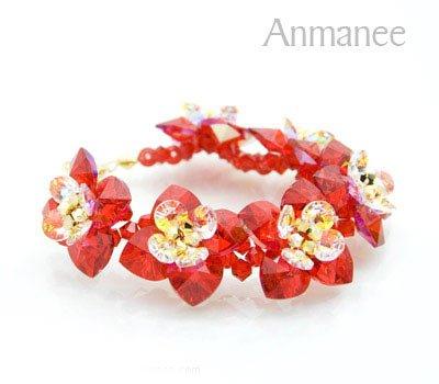 Handcrafted Swarovski Crystal Bracelet - Red Siam Pikul 010256