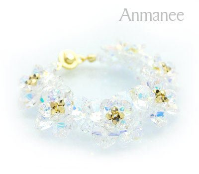 Handcrafted Swarovski Crystal Bracelet - White Crystal Pikul 010255