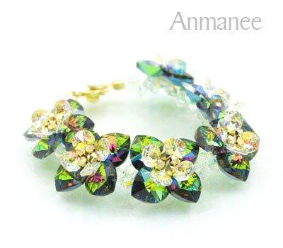 Handcrafted Swarovski Crystal Bracelet - Green Emerald Pikul 010254