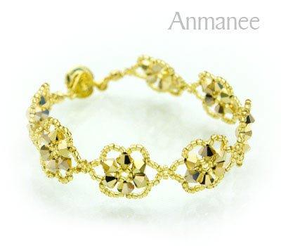 Handcrafted Swarovski Crystal Bracelet - Gold Pellet Queen 010248