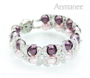 Handcrafted Swarovski Pearl Bracelet - Shying Moon 02021