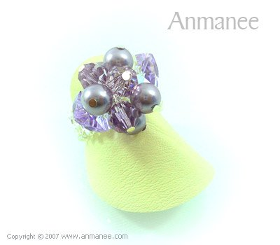 Handcrafted Swarovski Crystal Ring - Bloom Crystal and Pearl 01047